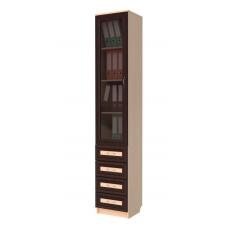 Книжный шкаф 221, цвет дуб молочный+венге