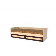 Кровать односпальная с ящиками рамка МДФ, дуб молочный/венге