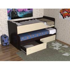 Кровать двухъярусная детская Дуэт-2 выдвижная, венге/дуб молочный