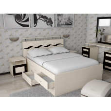 Кровать двуспальная Волна-3 с комодом спальное место 140*200
