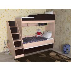 Кровать двухъярусная выкатная Дуэт-17, цветдуб молочный/ венге