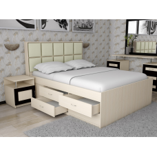 Кровать двуспальная Волна - 4 с комодом, спальное место 160*200