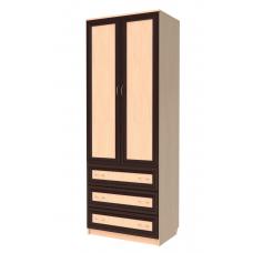315. Шкаф для одежды с ящиками, цвет дуб молочный/ небесно - голубой