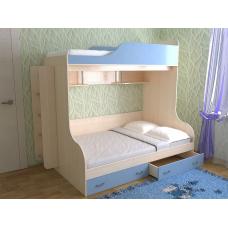 Кровать двухъярусная Дуэт-15, Дуб молочный/небесно-голубой