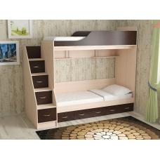 Кровать двухъярусная Дуэт-14, Дуб молочный/венге +лестница с ящиками