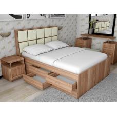 Кровать двуспальная Волна - 4 с комодом, спальное место 140*200