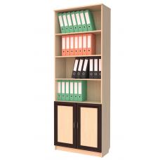 Книжный шкаф 102, цвет дуб молочный+венге