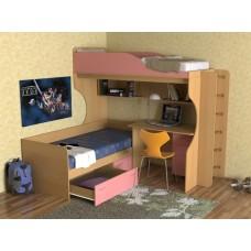 Кровать двухъярусная детская    Дуэт-5 , бук/розовый