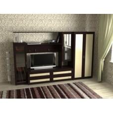 Мебельная стенка  Соната-1  со шкафом, цвет венге/дуб молочный
