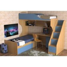 Кровать двухъярусная детская   Дуэт-5 , бук/небесно-голубой, лестница с ящиками