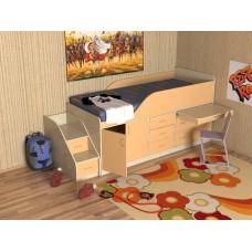 Кровать чердак с рабочей зоной   Кузя-3, дуб молочный/оранжевый