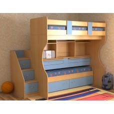 Кровать двухъярусная детская   Дуэт-4  , бук/небесно-голубой