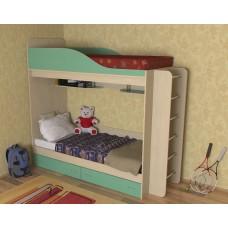 Кровать двухъярусная детская    Дуэт , дуб молочный/зеленый. лестница хром