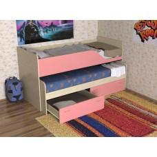 Кровать двухъярусная детская  Дуэт-2   выдвижная, дуб молочный/розовый