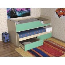Кровать двухъярусная детская  Дуэт-2   выдвижная, дуб молочный/зеленый