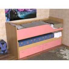 Кровать двухъярусная детская  Дуэт-2  выдвижная, цвет бук/розовый