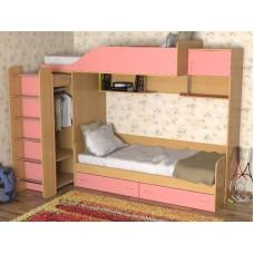 Кровать двухъярусная детская   Дуэт-3  , бук/розовый