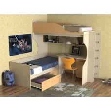 Кровать двухъярусная детская   Дуэт-5 , дуб молочный/оранж+ лестница труба хром
