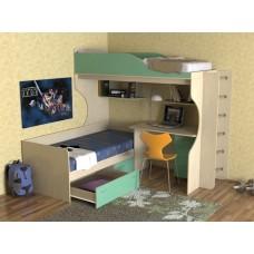 Кровать двухъярусная детская   Дуэт-5 , дуб молочный/зеленый+труба хром