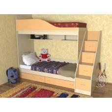 Кровать  двухъярусная детская  Дуэт , дуб молочный/оранж