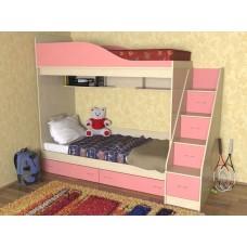 Кровать  двухъярусная детская  Дуэт , дуб молочный/розовый