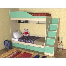 Кровать  двухъярусная детская  Дуэт , дуб молочный/зеленый