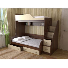 Кровать двухъярусная Дуэт-15,Орех/ваниль +лестница с ящиками