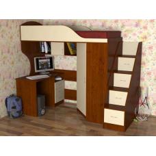 Кровать чердак с рабочей зоной  Квартет-2 , лестница с ящиками, яблоня/ ваниль