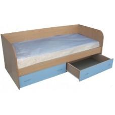 Кровать односпальная с ящиками 800х1900, бук/синий