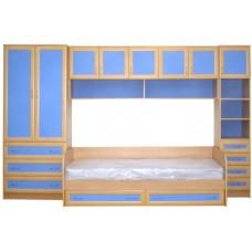 Мебель для детской комнаты с кроватью, бук/синий МДФ