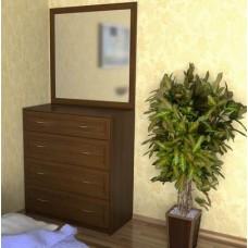 Комод для белья №1 орех с зеркалом