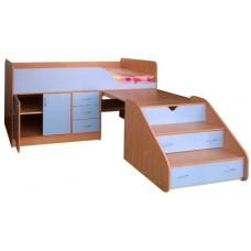 Кровать чердак с рабочей зоной   Кузя-2, бук/небесно-голубой