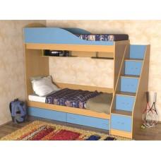 Кровать двухъярусная детская    Дуэт , бук/небесно-голубой