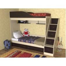Кровать  двухъярусная детская  Дуэт , дуб молочный/венге