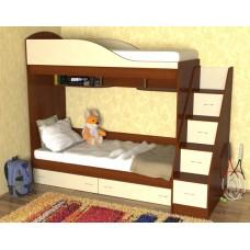 Кровать двухъярусная детская   Дуэт  , яблоня/ваниль