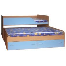 Кровать двухъярусная детская  Дуэт-2   выдвижная, бук/синий