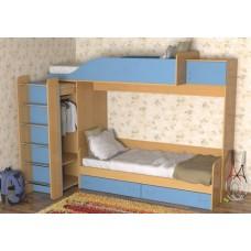 Кровать двухъярусная детская   Дуэт-3  , бук/небесно-голубой