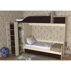 Кровать двухъярусная детская   Дуэт-3  , дуб молочный/венге