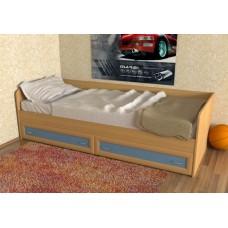 Кровать  односпальная с ящиками рамка МДФ, бук/синий
