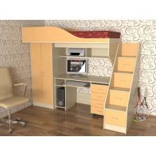 Кровать чердак с рабочей зоной  Квартет, дуб молочный/оранж