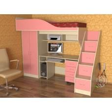 Кровать чердак с рабочей зоной  Квартет, дуб молочный/розовый
