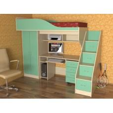 Кровать чердак с рабочей зоной  Квартет, дуб молочный/зеленый
