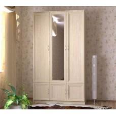 Шкаф для одежды трехстворчатый с зеркалом, цвет дуб молочный