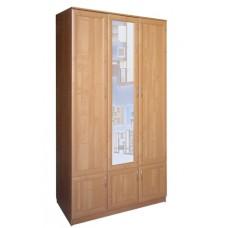 Шкаф для одежды трехстворчатый с зеркалом, ольха