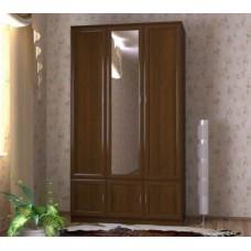 Шкаф для одежды трехстворчатый с зеркалом, орех экко