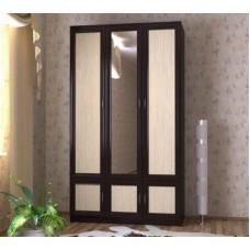 Шкаф для одежды трехстворчатый с зеркалом, венге/дуб молочный