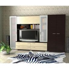 Мебельная стенка  Двина  со шкафом, цвет венге/дуб молочный